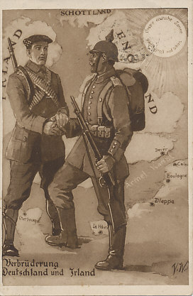 Irish and German brotherhood. Standing in France, an Irish rebel soldier clasps the hands of a German soldier. The German sun shines upon the scene. In Germany, Irish rebel Roger Casement tried to raise an Irish unit to fight the British from Irish prisoners of war. Postcard field postmarked October 5, 1915 with a message the same day.