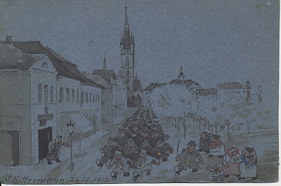 Austro-Hungarian soldiers marching through a city, their officers bawling orders. Women and a child watch and talk, possibly shouting to be heard over the marching feet. An original watercolor on blue paper, signed W. Rittermann or Pittermann, December 26, 1915.