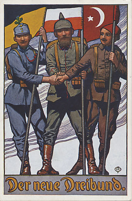 The new Dreibund, or Triple Alliance of Austria-Hungary, Germany, and Turkey. The original Triple Alliance included Italy rather than Turkey, but Italy declared neutrality on August 3, 1914, then war on Austria-Hungary on May 24, 1915. The Austro-Hungarian soldier on the left is holding the Hapsburg flag. Illustration by HR.