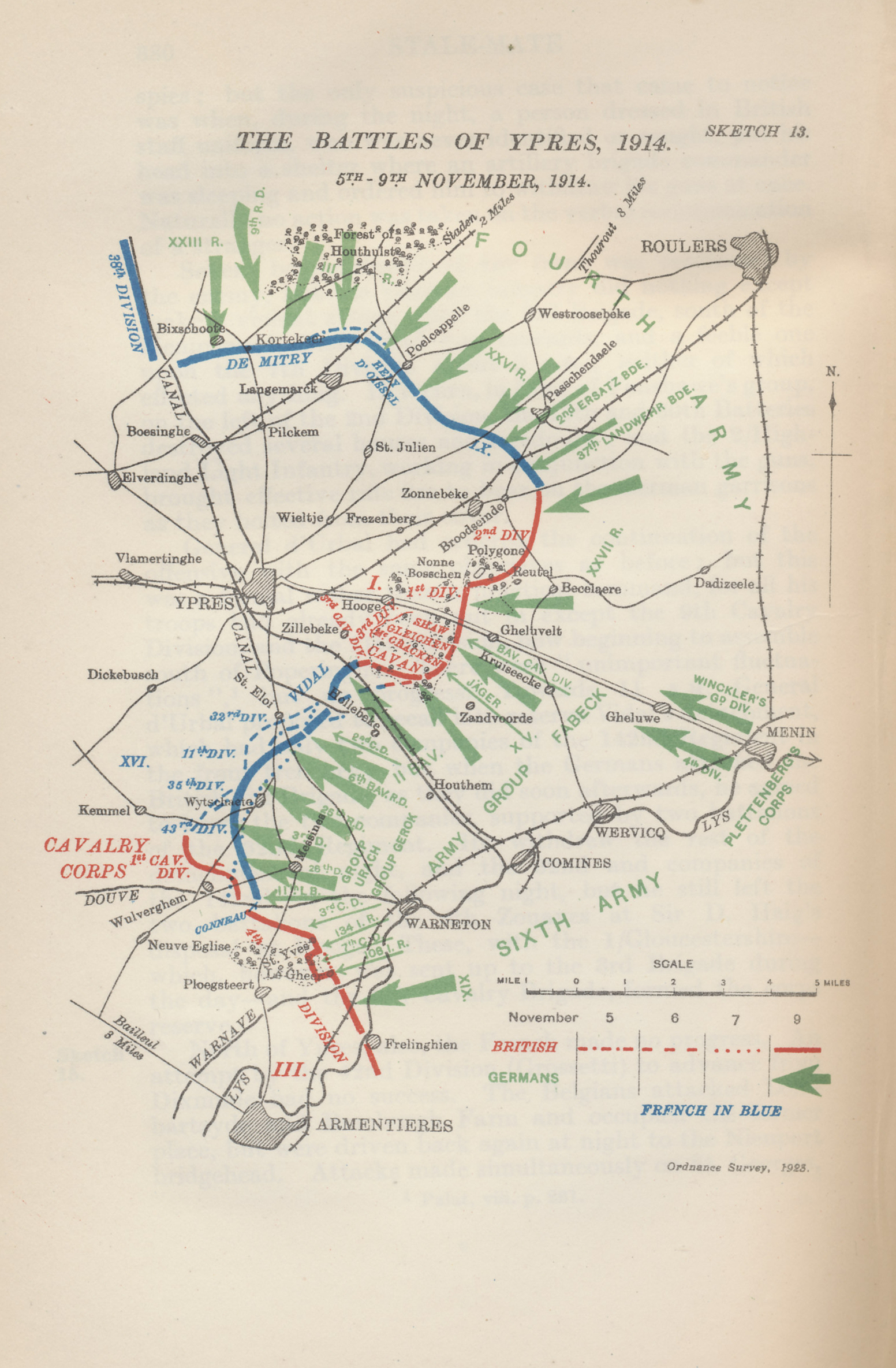 Map of the positions in the Battle of Ypres, November 5 through 9, 1915 from Military Operations France and Belgium, 1914, Vol. II, October and November, by J. E. Edmonds with maps and sketches compiled by Major A. F. Becke. The British had been subjected to repeated German attacks since mid-October.