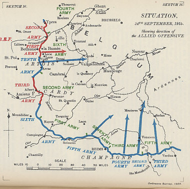 Map of the plan for the Allied Offensive in France showing the situation on September 24, the eve of the infantry assault. An Anglo-French would attack eastward in Artois (with the British at Loos) as the French attacked northwards in Champagne. From 'Military Operations France and Belgium, 1915, Vol. II, Battles of Aubers Ridge, Festubert, and Loos' by Brigadier-General J.E. Edmonds.