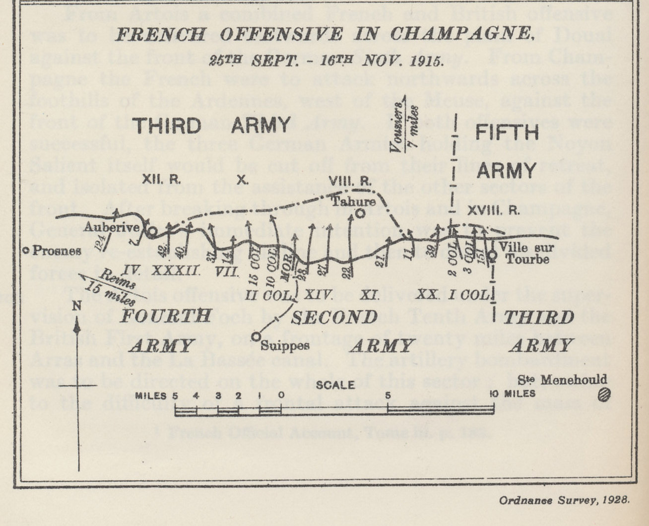 Map of the 'French Offensive in Champagne', the Second Battle of Champagne, and part of the Allied offensive in the autumn of 1915. From 'Military Operations France and Belgium, 1915, Vol. II, Battles of Aubers Ridge, Festubert, and Loos' by Brigadier-General J.E. Edmonds & Captain G.C. Wynne.