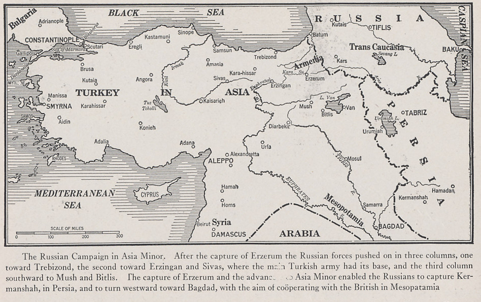 Map of the Russian campaign in Asia Minor from 'The Nations at War, a Current History' by Willis John Abbot, 1917 Edition.