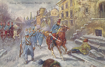 Postcard of the entry of the allied German and Austro-Hungarian Armies into Lodz, in Polish Russia, after the Russians evacuated the city on December 6, 1914. A Russian officer, presumably wounded, lies on the pavement. The postcard depicts an Austro-Hungarian calvaryman and foot soldier leading the column of German soldiers, but the victory belonged to Germany, not their ally who was at the time being pushed back in the Carpathians and around Cracow. Illustration by F. Höllerer.