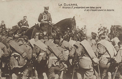 Russia's Tsar Nicholas II displays an icon to some of his kneeling troops.