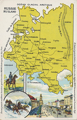 Advertising postcard map of European Russia, with inset images of a mounted Cossack lancer, a troika, and St. Petersburg.