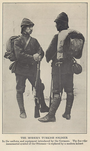 Examples of the uniform and kit of 'the modern Turkish soldier' from 'Ambassador Morgenthau's Story' by Henry Morgenthau, American Ambassador to Turkey from 1913 to 1916.