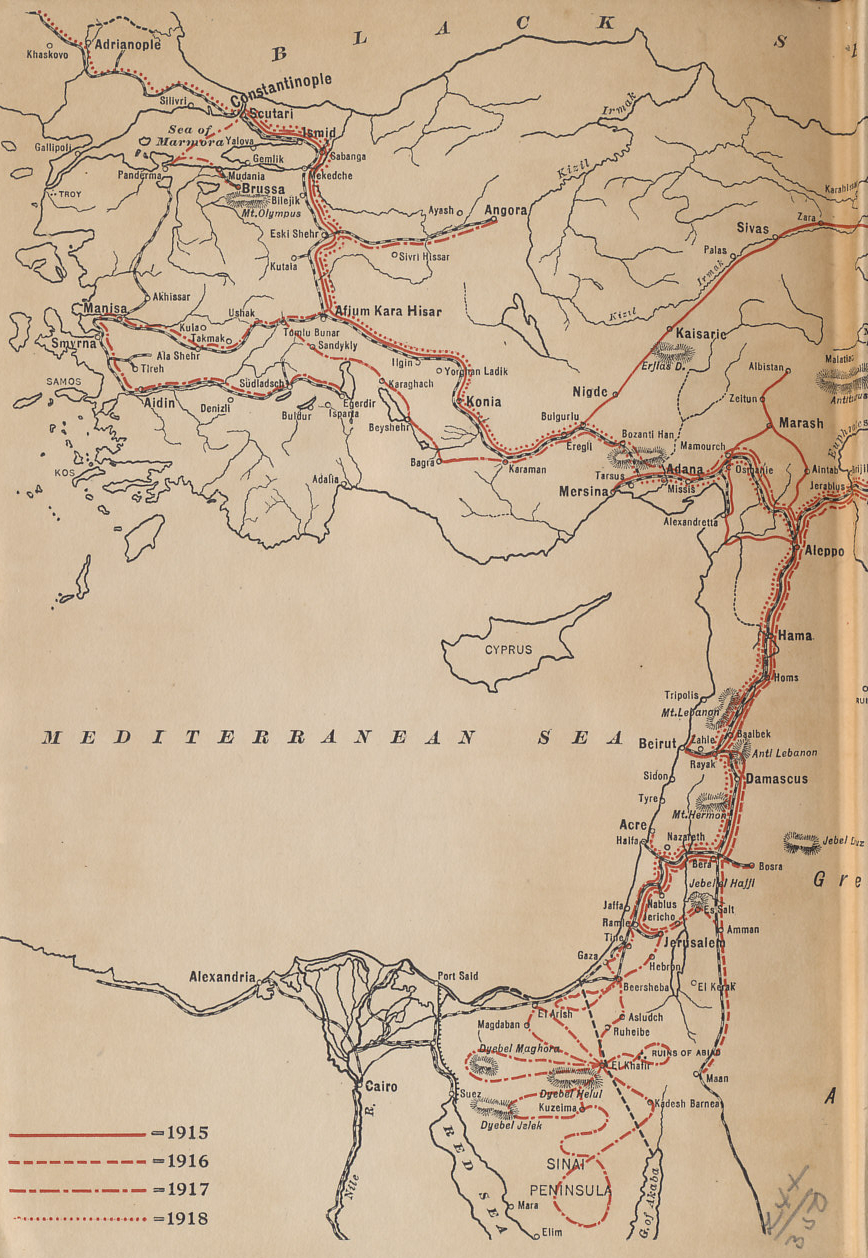 Western Ottoman Empire showing the travels of Rafael De Nogales, Inspector-General of the Turkish Forces in Armenia and Military Governor of Egyptian Sinai during the World War, from his book %i1%Four Years Beneath the Crescent%i0%.