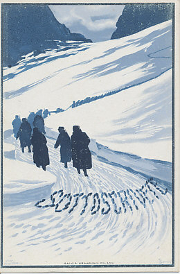 Italian troops marching into the mountains where Italy fought much of its war against Austria-Hungary. A poster postcard encouraging the purchase of war bonds yielding 5.55%.