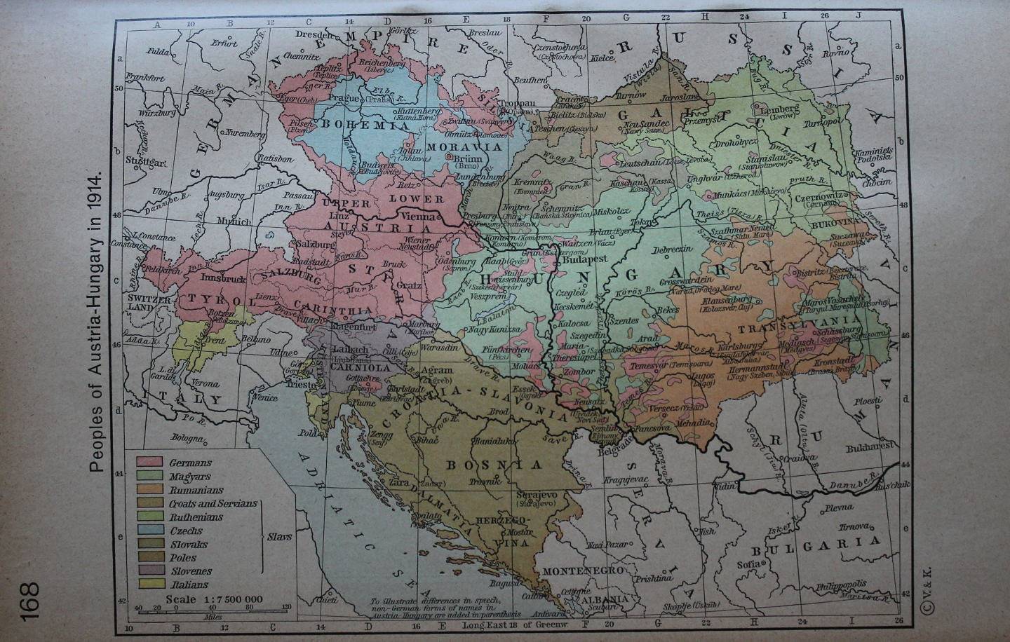 Peoples of Austria-Hungary in 1914 from 'Historical Altas' by William R. Shepherd. The empire's population included Germans, Magyars, Romanians, Italians, and Slavs including Croats, Serbians, Ruthenians, Czechs, Slovaks, Poles, and Slovenes.