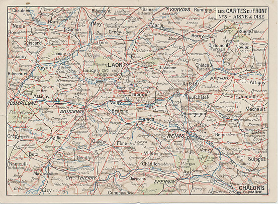Western Front: Aisne & Oise. French folding postcard map of the Aisne and Oise, number 3 from the series %i1%Les Cartes du Front%i0%. The map includes the Champagne front from Compiègne in the west to Chalons-sur-Marne in the east including Soissons, Chemin des Dammes, Laon, Reims, and Château Thierry.