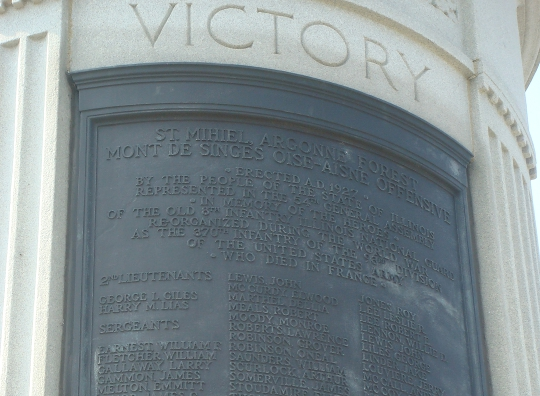 Victory Monument commemorating the Eighth Regiment of the Illinois National Guard, an African-American unit that served in France reorganized as the 370th U.S. Infantry Regiment of the 93rd Division. The bronze sculpture is by Leonard Crunelle and was erected in 1927.