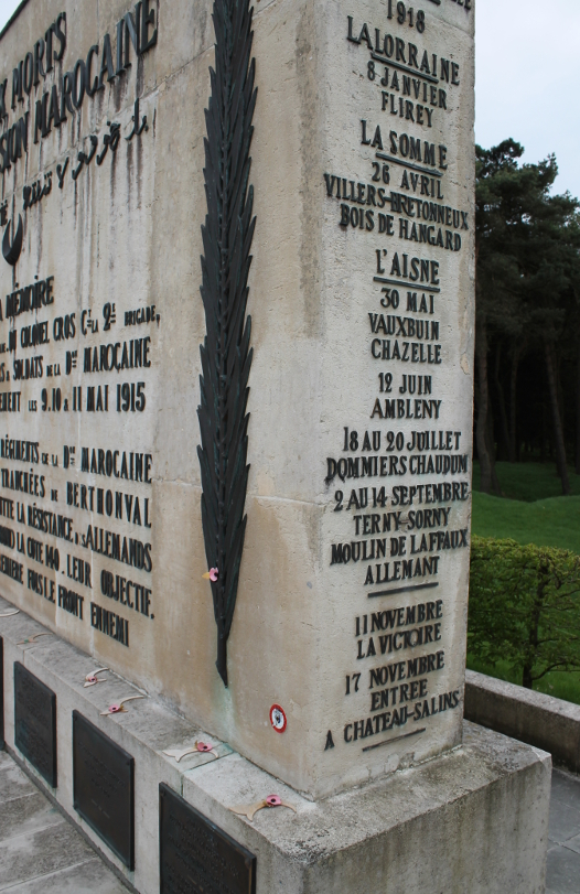 Detail from the Memorial to the French Moroccan Division at Vimy Ridge. The theaters and battles in which the division played a role are recorded on the sides of the monument.